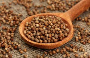 семена кориандра в ложке