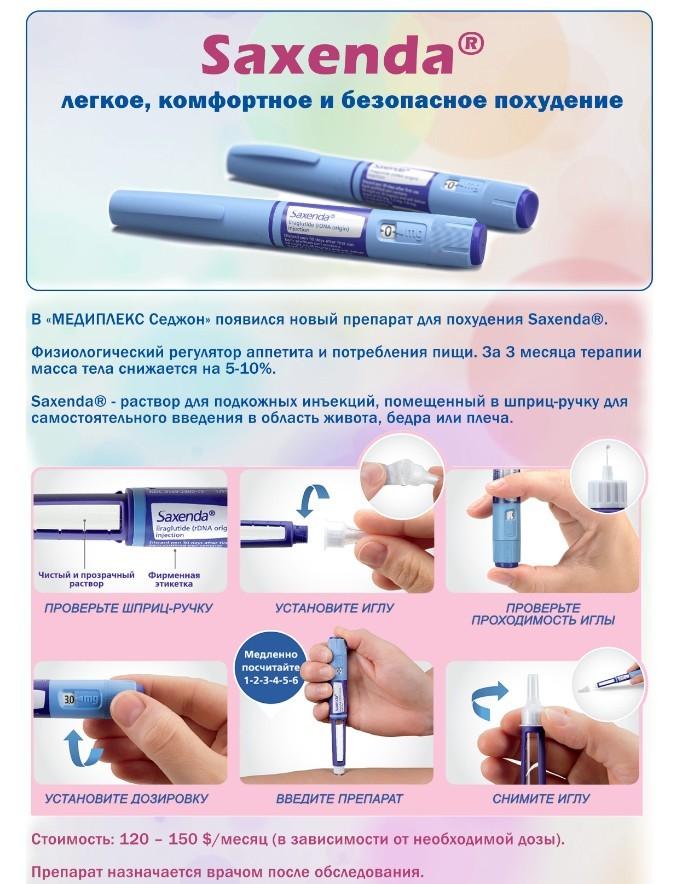 Инструкция для похудения Саксенды, состав препарата и его цена в России и инструкция для похудения