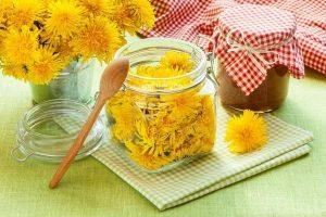 цветки одуванчика в банке